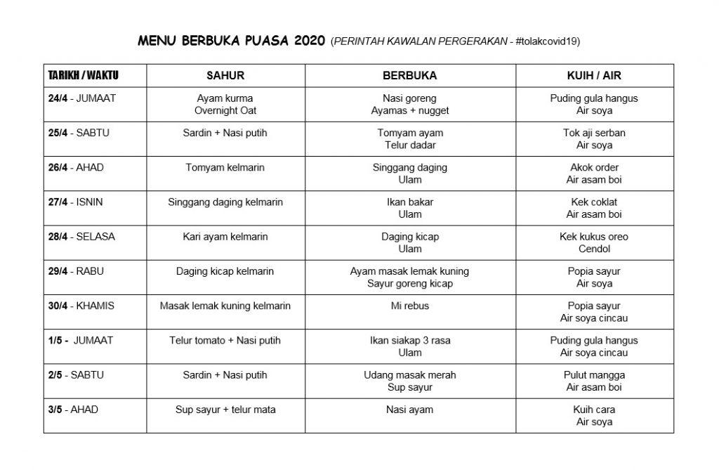 Jadual 30 menu di Bulan Ramadhan -Download je